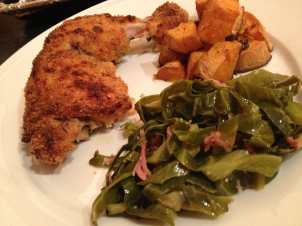 Shake-N-Bake Chicken & Mustard-Studded Ham Hock Greens: A Broad Cooking