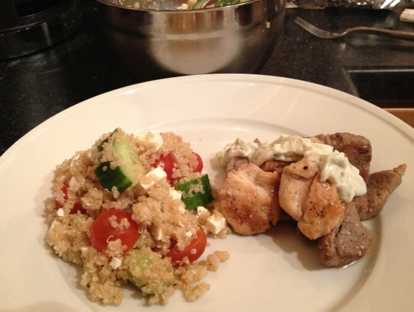 Greek Quinoa Salad & Mixed Grill with Cucumber Yogurt Dressing: A Broad Cooking