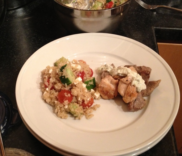 Greek Quinoa Salad with Mixed Grill: A Broad Cooking