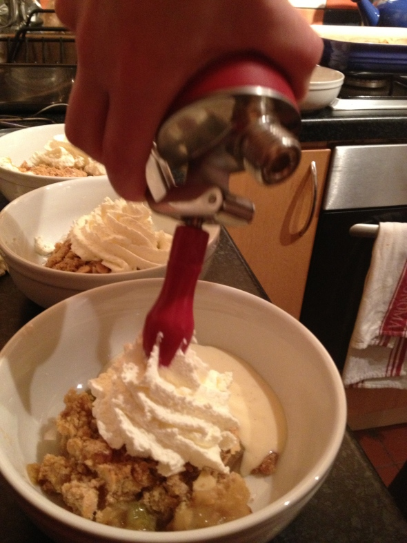 Rhubarb-Ginger Crumble with Vanilla Custard & Whipped Cream: A Broad Cooking