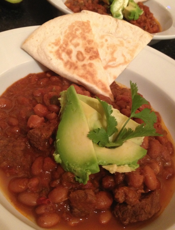 Chili Been & Bean Stew with Quesadillas: A Broad Cooking