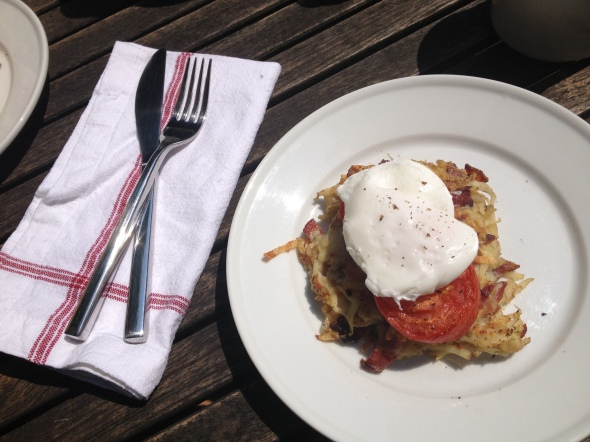 Bacon Crisped Hash Browns with Poached Eggs: A Broad Cooking