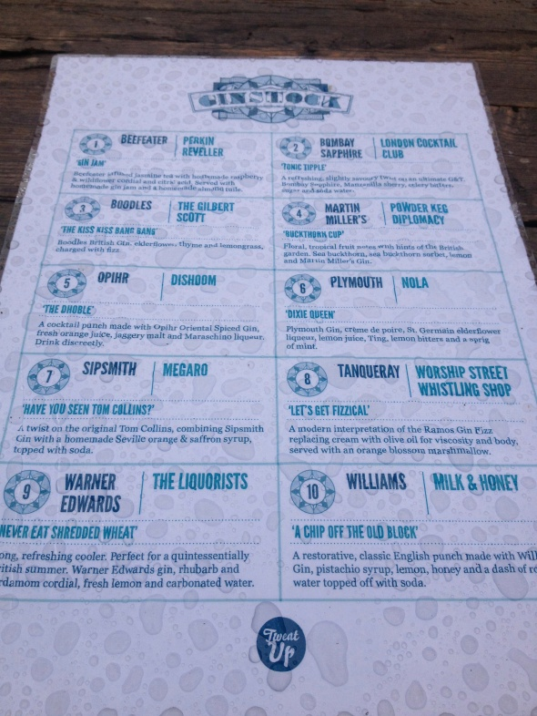Rain Covered Ginstock Menu