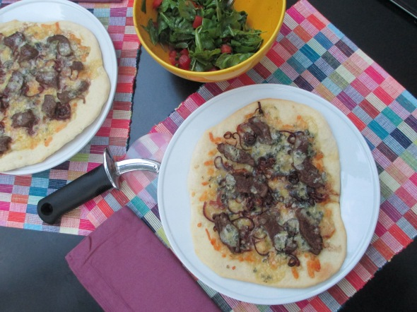 Blue Cheese Steakburger Pizza with Mustardy Arugula Salad: A Broad Cooking