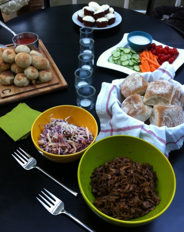 Tailgate Spread- Balsamic Pulled Pork & Blue Cheese Cole Slaw: A Broad Cooking
