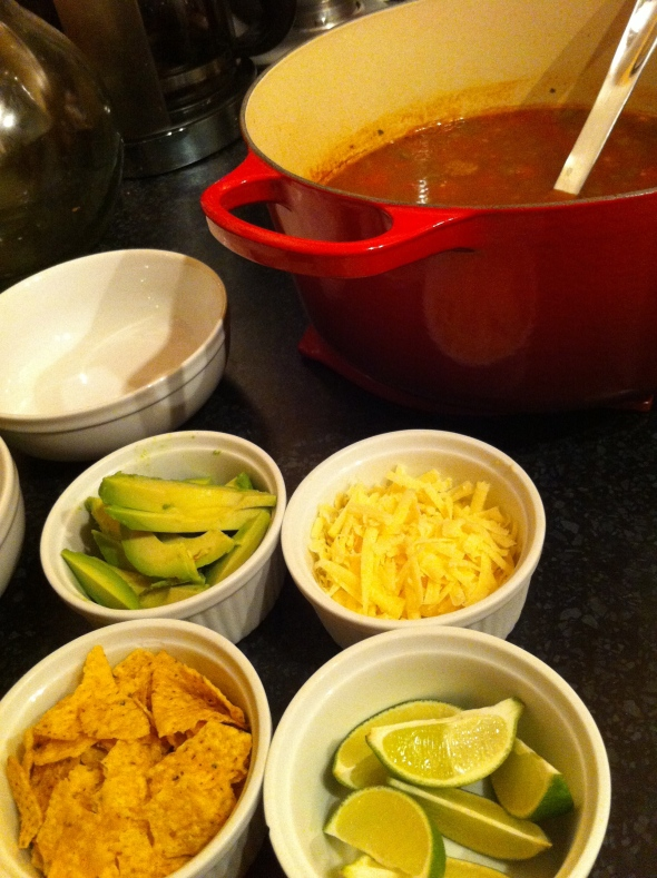 Taco Tortilla Soup with Topping Bar: A Broad Cooking