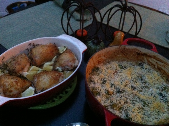 Brussels Sprout Gratin & Roast Chicken Thighs: A Broad Cooking