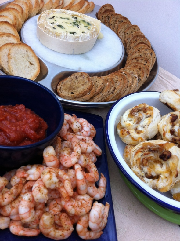 Roasted Shrimp Cocktail, Apricot & Goat Cheese Palmiers, and Baked Camembert - The perfect way to greet your guests this Thanksgiving: A Broad Cooking