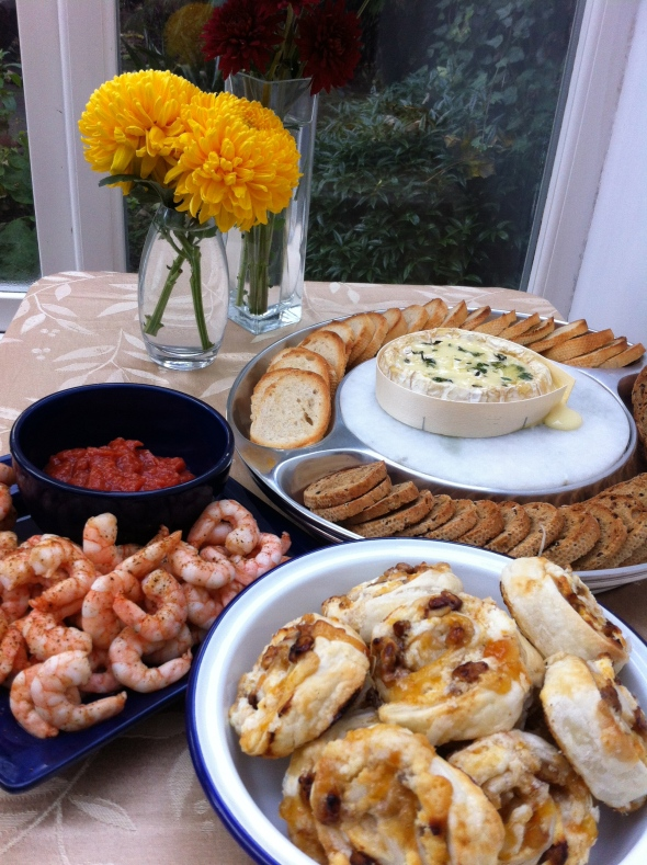 A Perfect Thanksgiving Appetizer Spread - Roasted Shrimp Cocktail, Apricot and Goat Cheese Palmiers, and Garlicy Thyme Baked Camembert: A Broad Cooking