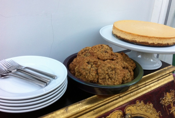 Thanksgiving Dessert Station - Pumpkin Cognac Cheesecake & Oatmeal Pecan Pie Cookies: A Broad Cooking