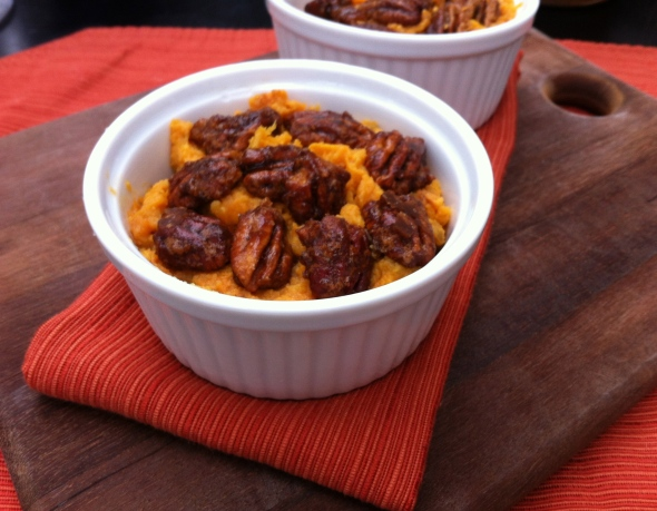 Mashed Sweet Potatoes with Grand Marnier Glazed Pecans: A Broad Cooking