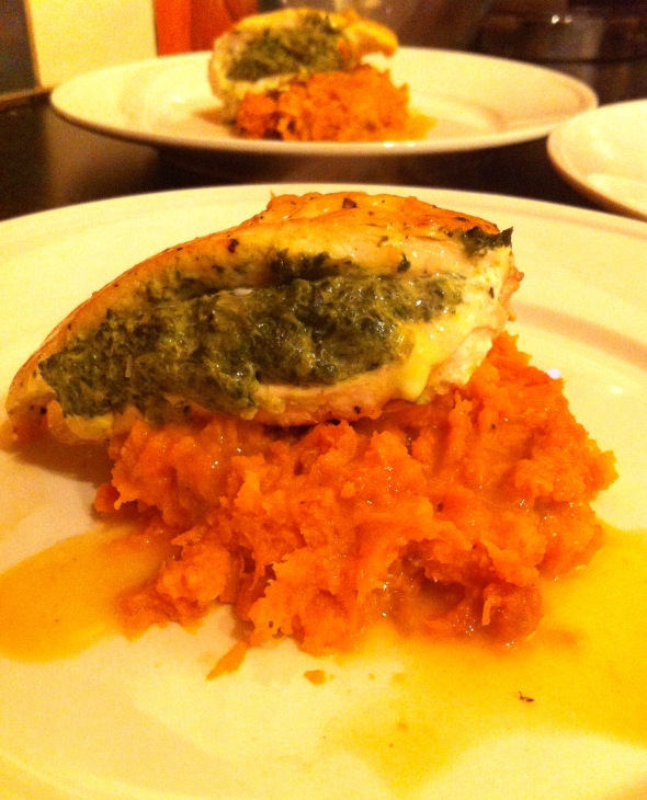 Chicken Stuffed w/ Spinach Gratin over Sweet Potatoes & a Lemon Butter Sauce - a great way to  use up Thanksgiving leftovers: A Broad Cooking