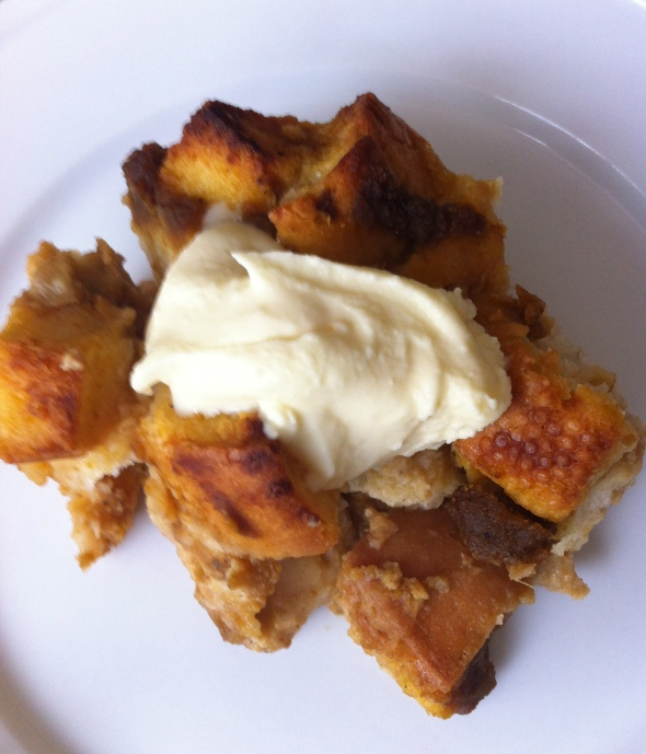 Pumpkin Butter Bread Pudding with Ginger Whiskey Cream: A Broad Cooking