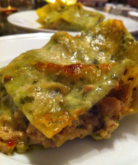 Mario Batali's Sausage and Pesto Lasagna: A Broad Cooking