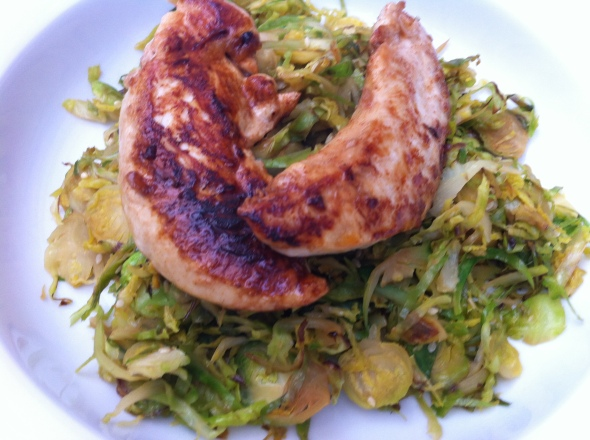 Sesame Brussels Sprout Hash with Ginger Soy Chicken: A Broad Cooking
