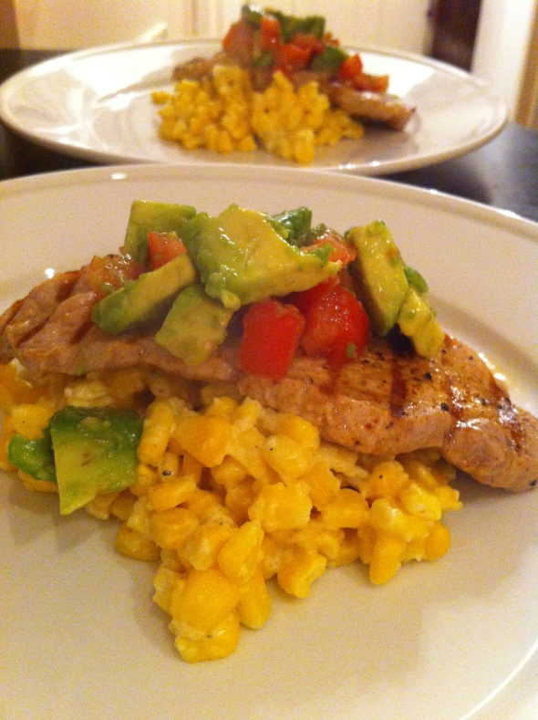 Grilled Pork w/ Creamed Corn & Avocado Salsa: A Broad Cooking