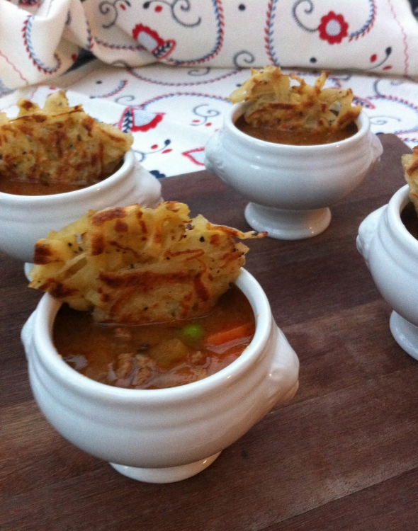 Shepherds Pie Soup w/ Crispy Potato Cake Topping: A Broad Cooking