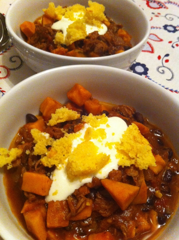 Pork, Sweet Potato, & Black Bean Chili: A Broad Cooking