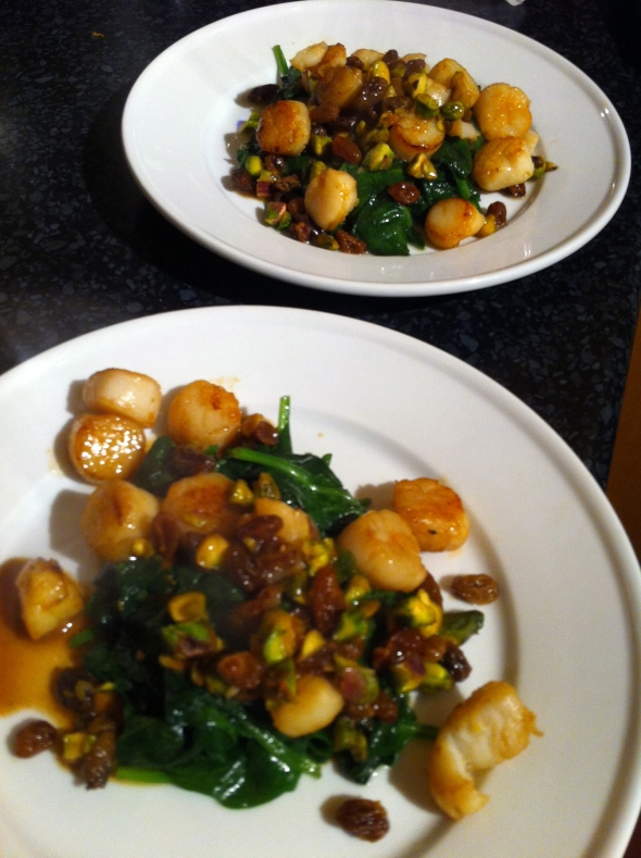 Seared Scallops w/ Golden Raisins & Pistachios: A Broad Cooking