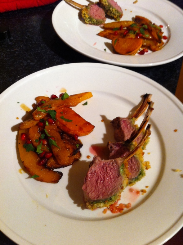 Herby Mustard Rack of Lamb & Roasted Butternut Squash w/ Pomegranate Molasses: A Broad Cooking