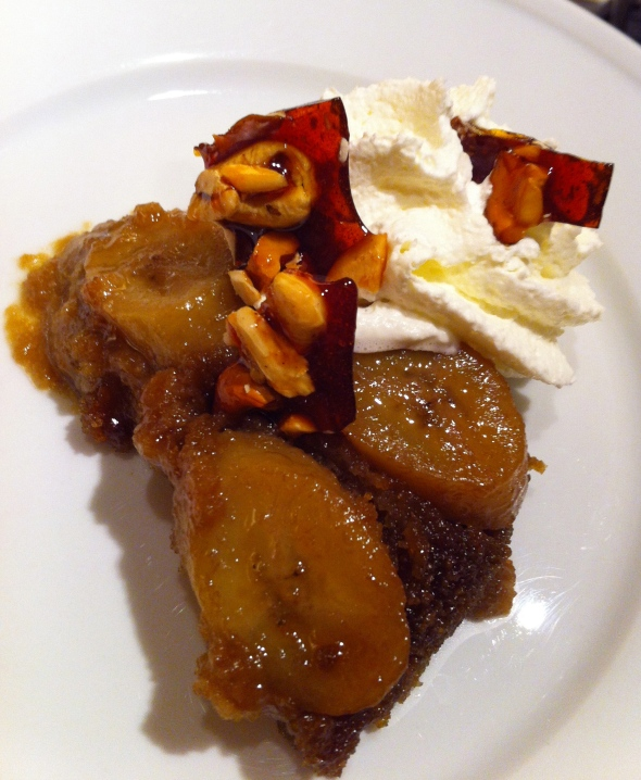 Banoffee Upside-Down Cake w/ Cashew Brittle & Fresh Whipped Cream: A Broad Cooking