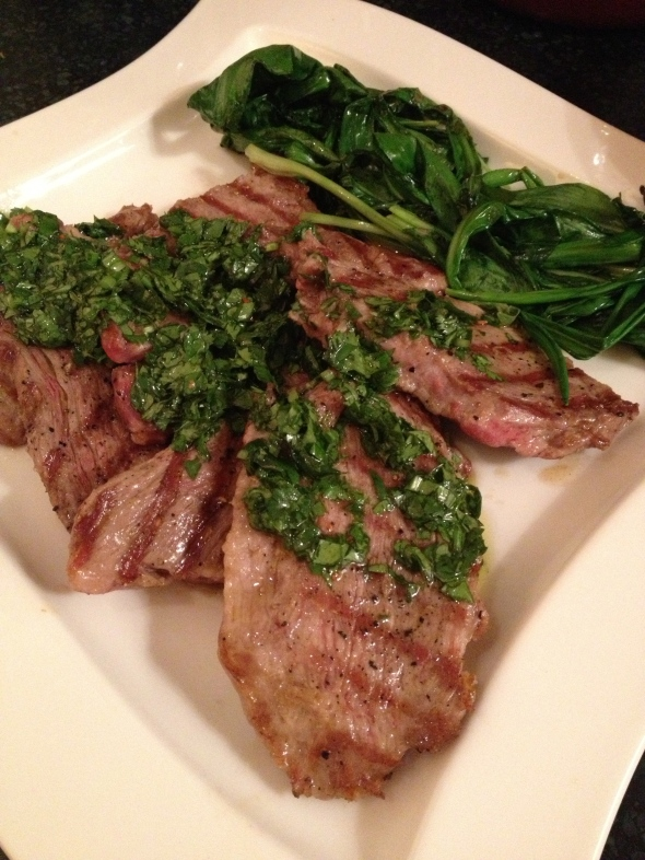 Grilled Presa with Ramp Chimichurri: A Broad Cooking